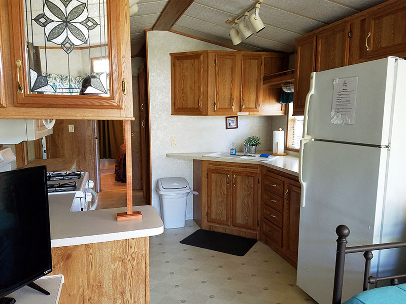 Photo Gallery Cabin Kitchen Interior from Ontario Shores RV Park